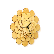 Natural tone wooden wall clock with floral appearance, a wall art - Dahlia M image 2