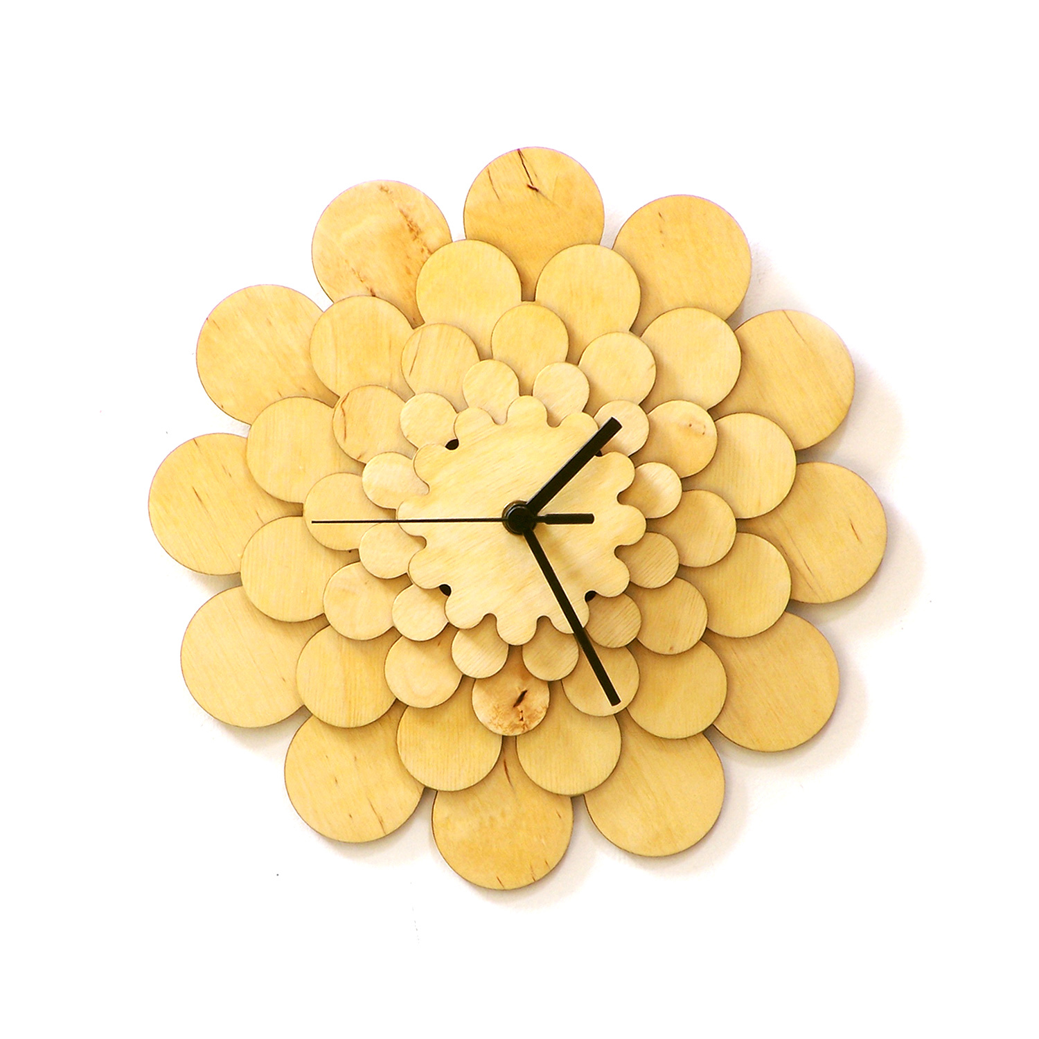 Natural tone wooden wall clock with floral appearance, a wall art - Dahlia M
