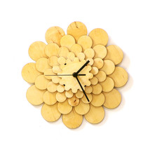 Natural tone wooden wall clock with floral appearance, a wall art - Dahl... - $89.00