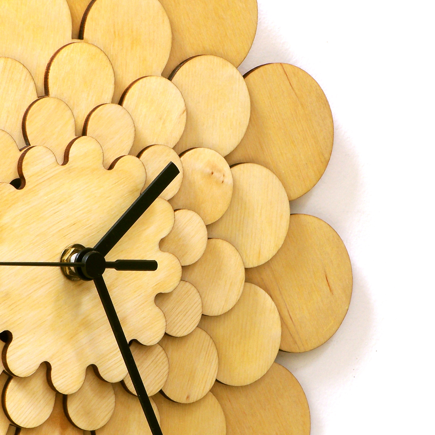 Natural tone wooden wall clock with floral appearance, a wall art - Dahlia M image 4