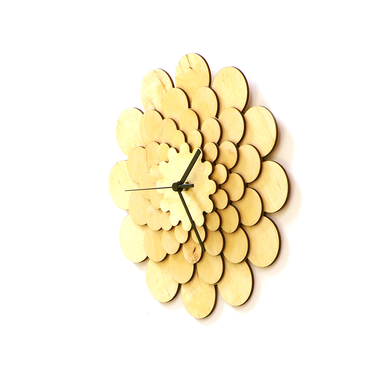 Natural tone wooden wall clock with floral appearance, a wall art - Dahlia M image 3