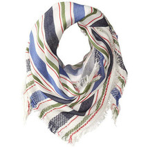 "NWT Steve Madden Blue Multi Blanket Stripe Triangle Wrap Shawl Scarf 45"" x 90"" - $12.99"