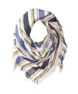 """NWT Steve Madden Blue Multi Blanket Stripe Triangle Wrap Shawl Scarf 45""""... - $12.99"""