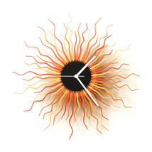 Large size contemporary wooden wall clock in shades of copper - Medusa c... - $149.00