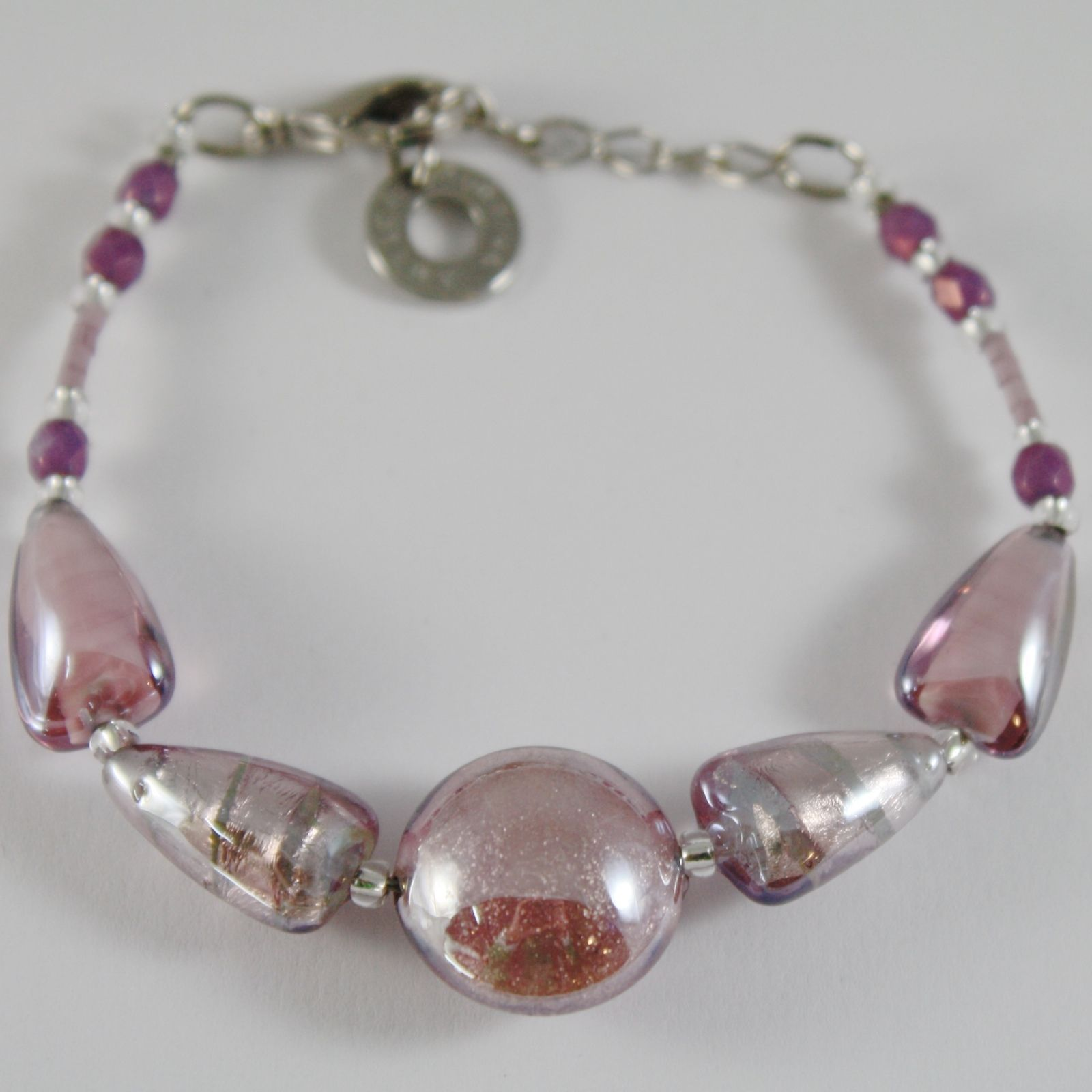 ANTICA MURRINA VENEZIA BRACELET PURPLE, PINK, DISC AND TRIANGLE TRIANGLES