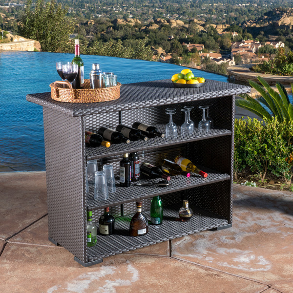 Outdoor wicker bar garden drinks bar garden rattan bar water resistant patio bar patio - Essentials for setting up a backyard bar ...