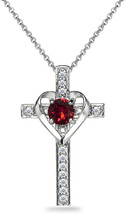 Sterling Silver Red Heart in Cross Pendant Necklace Made with Swarovski ... - $86.42