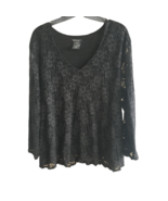 For Joseph Stretch Lace 3/4 Sleeve V-neck Top Black Shirt Casual Plus Si... - $24.99