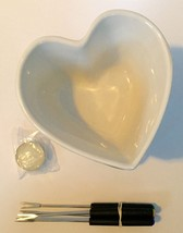 Heart Shaped Fondue Set Bowl For Two Romantic Ceramic Tea Light Wilton Rare - $19.79