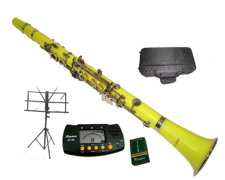 Merano B Flat YELLOW / Silver Clarinet with Case+Metro Tuner+Music Stand+11 Reed