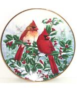 Birds Red Holly Berries Plate Winter Splendor Garden Hamilton Collector  - $59.95