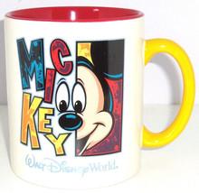 Walt Disney World Mickey Mouse Coffee Mug Giant Red Yellow Ceramic Cup Retired - $59.95