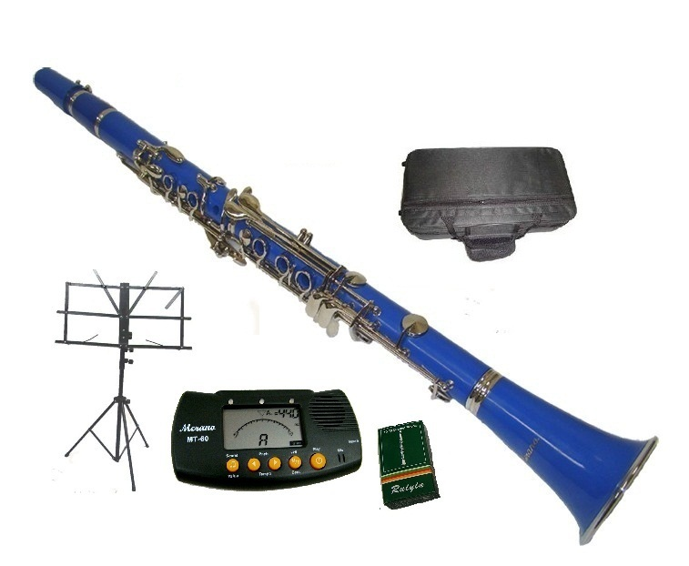 Merano B Flat BLUE / Silver Clarinet with Case+Metro Tuner+Music Stand+11 Reed