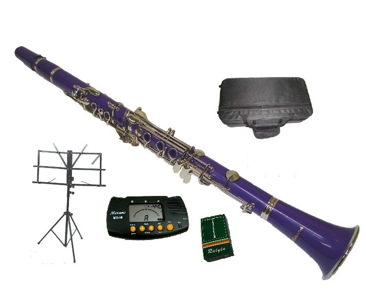 Merano B Flat PURPLE / Silver Clarinet with Case+Metro Tuner+Music Stand+11 Reed