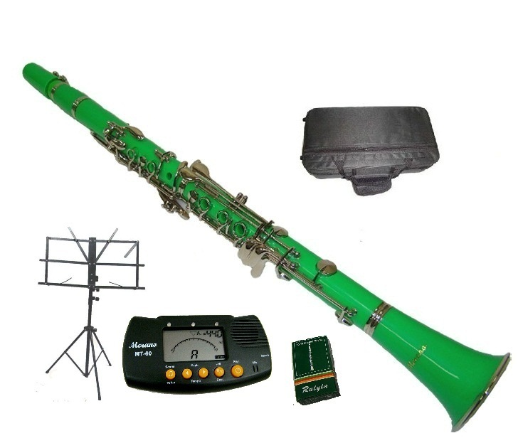 Merano B Flat GREEN / Silver Clarinet with Case+Metro Tuner+Music Stand+11 Reed