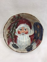 Tabletops Gallery Father Christmas Hand Painted Santa Clause Bowl 6 Inches - $9.64
