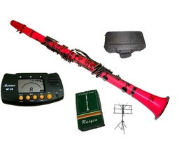 B Flat PINK / Silver Clarinet with Case+Metro Tuner+Music Stand+11 Reed - $179.99