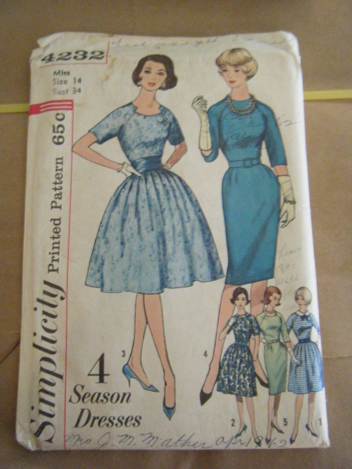 Primary image for Vintage 1960's Simplicity 4232 Misses Dresses Pattern - Size 14 Bust 34