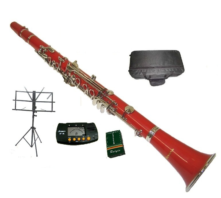 Merano B Flat RED / Silver Clarinet with Case+Metro Tuner+Music Stand+11 Reed