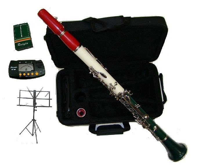 Merano Bb RED-WHITE-GREEN Clarinet w/Silver Keys,Case+Tuner+Music Stand+11 Reeds