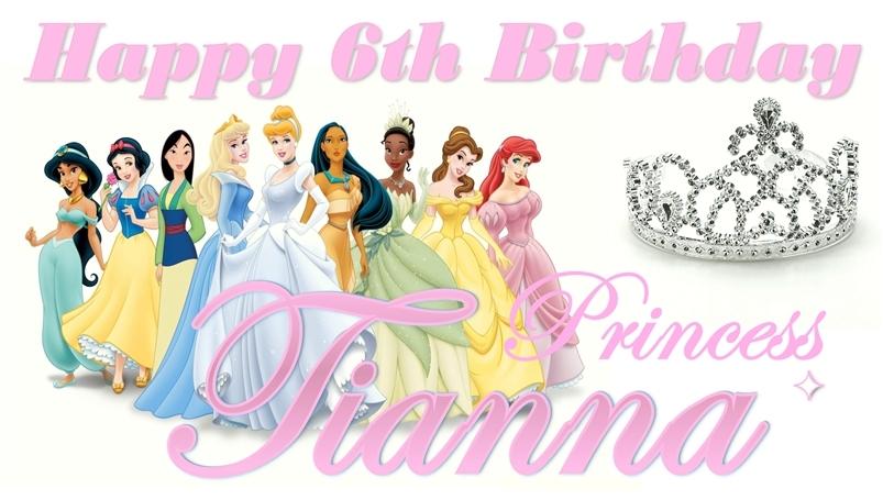 Disney Princess -Custom- Personalized Birthday Banner Decoration