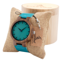 Bobo Bird Bamboo Wood Watch Men Women Quartz Analog Blue w/ Gift Box Tur... - £28.01 GBP