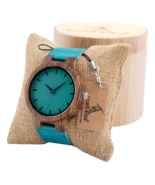 Bobo Bird Bamboo Wood Watch Men Women Quartz Analog Blue w/ Gift Box Tur... - $42.32 CAD