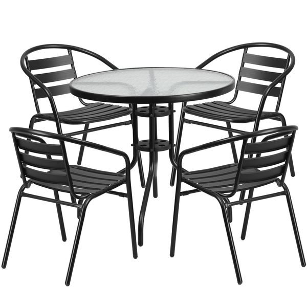 glass metal patio set outdoor dining set black garden stack chair set