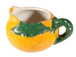 Tiny Vintage Yellow Ceramic Pitcher with Green Leaves and Handle - $9.05