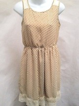 Zara Sz S Dress Beige Brown Polka Dots Lace Trim - $23.50