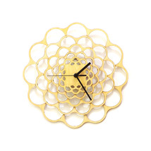 Unique modern wooden wall clock made using birch plywood, laser cut - Coral - $89.00