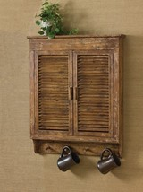 Rustic Primitive Distressed Wood Shutter Wall Cabinet ,Bath or Kitchen,3... - $147.51