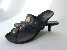 Franco Sarto Leather Thong Sandals Kitten Heel Womens 8 Brass Studs Used - $25.99