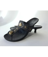 Franco Sarto Leather Thong Sandals Kitten Heel Womens 8 Brass Studs Used - $19.99
