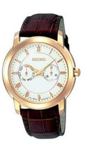 Seiko, men watch, classic, intemporal, white dial, brown strap SGN014 - $156.42