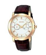 Seiko, men watch, classic, intemporal, white dial, brown strap SGN014 - $156.42