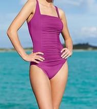 Calvin Klein One Piece Sz 8 Orchid Purple Pleated Swimsuit Swimwear CG5M... - $49.44