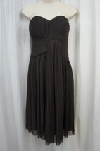 Calvin Klein Dress Sz 6 Dark Brown Mesh Pleated Strapless Cocktail Eveni... - $29.62