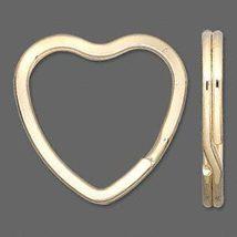 10 KEY RINGS~Heart Shape 32mm Split-Ring ~GOLD Metal - $5.11