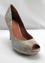 Vince Camuto Beige Rose Snakeskin Leather Peep Toe Heels Pumps - Women's 9B - $37.00