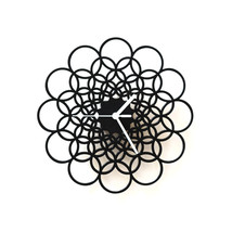 Unique contemporary black wooden wall clock made of birch plywood - Rings M - $89.00