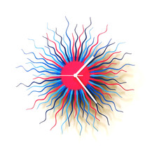 Large size contemporary wooden wall clock in blue / pink - Medusa blue - $149.00