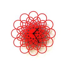 Unique contemporary wooden wall clock in red by ardeola - Rings red - $89.00
