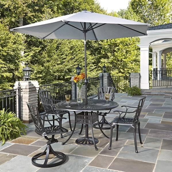 5 Piece Aluminium Patio Set with Umbrella Outdoor Garden Furniture Garden Din