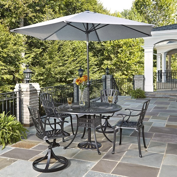 5 piece aluminium patio set with umbrella outdoor garden for Patio dining sets with umbrella