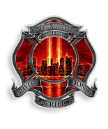 NEVER FORGET 9-11 TRIBUTE WITH RED SKY- 3M WINDOW DECAL...HIGH QUALITY--AWESOME - $10.99 - $18.89