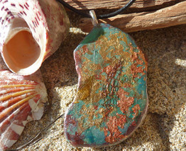 """Multi-Colored Metalic Painted Stone Pendant with 18"""" Black Leather Cord - $10.00"""