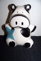 Cute black and white Holsten cow with a blue star bank Bank - $6.30