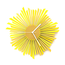 Stylish yellow / golden wooden wall clock, a piece of wall art - The Sun - $149.00
