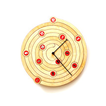 Unique natural wood + red wall clock made of wood, a product of ardeola ... - $109.00